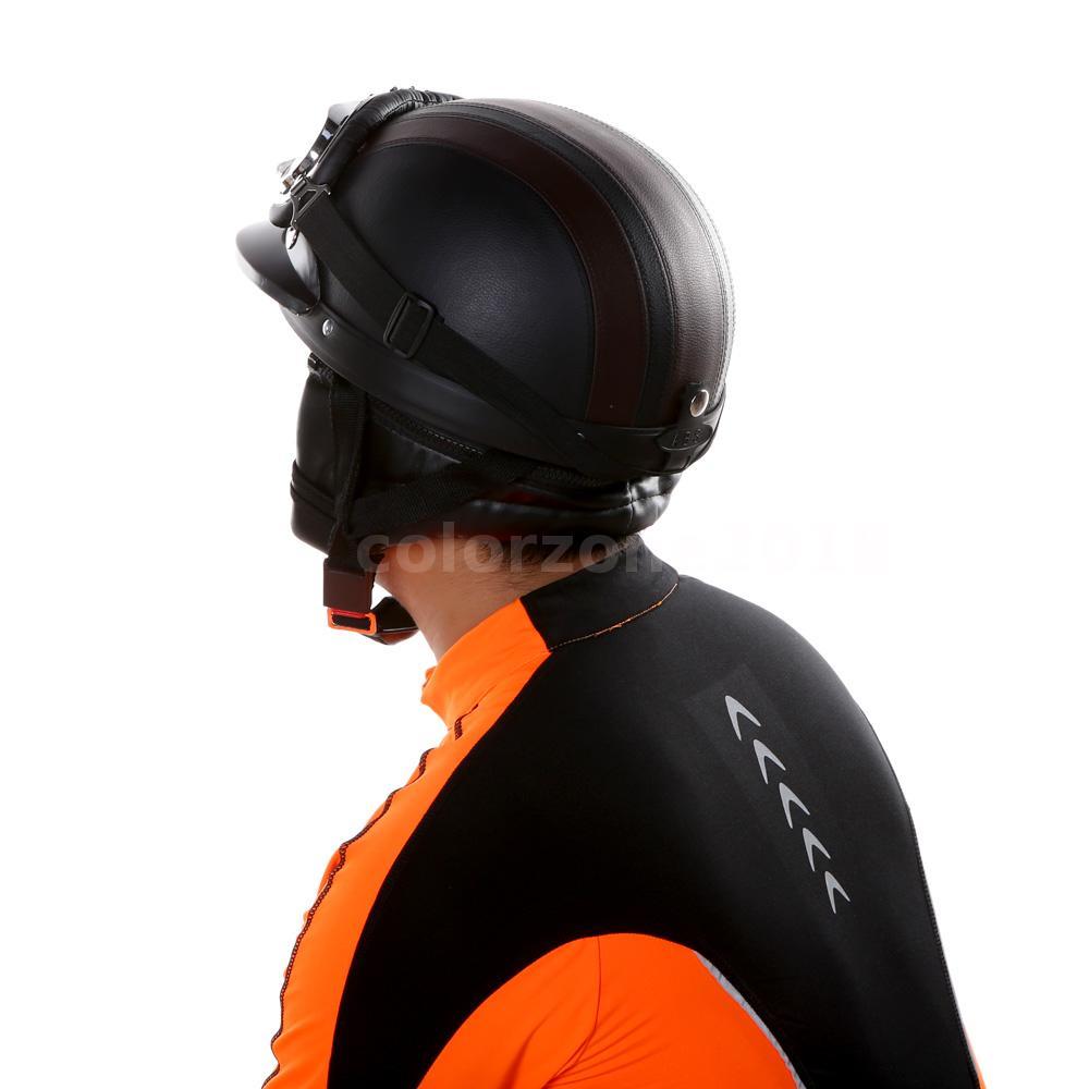 scooter open face halbe leder motorradhelm mit visier uv. Black Bedroom Furniture Sets. Home Design Ideas